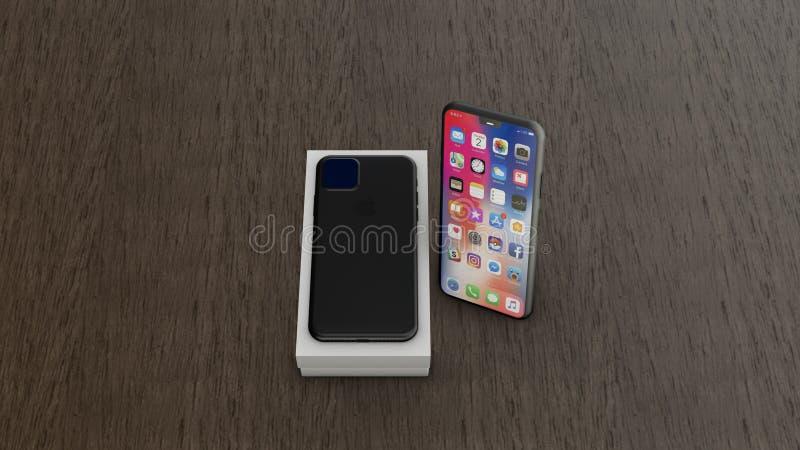 Chernivtsi, Ukraine - July 11, 2019: iPhone 11 with homescreen on wooden table background. stock illustration