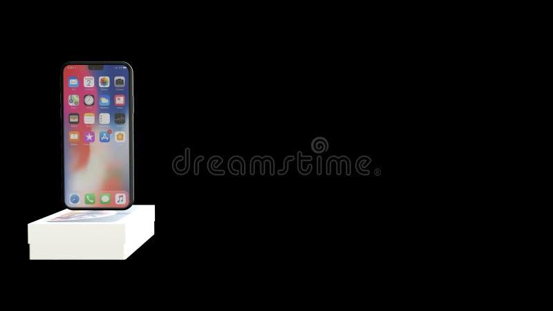 Chernivtsi, Ukraine - July 11, 2019: iPhone 11 new in original box isolated on black background. royalty free illustration
