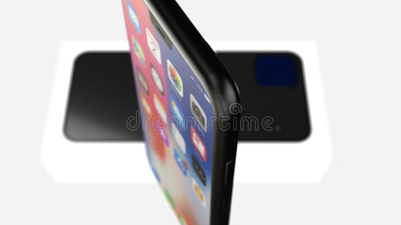 Chernivtsi, Ukraine - July 11, 2019: Release of iPhone 11, developed by Apple Inc. Close up. stock illustration