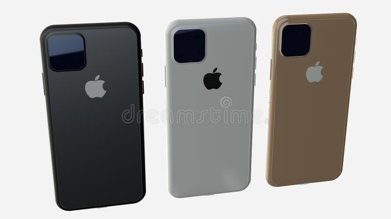 Chernivtsi, Ukraine - July 11, 2019: Set of all colors iPhones 11. Back view. royalty free illustration