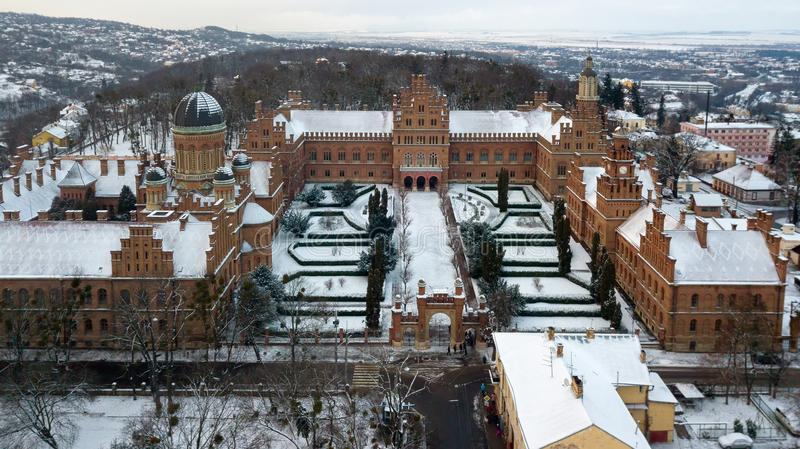 CHERNIVTSI, UKRAINE - Residence of Bukovinian and Dalmatian Metropolitans. Chernivtsi National University from above aerial view. Chernivtsi touristic stock photography