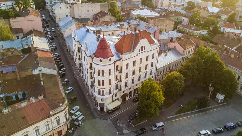 Chernivtsi view from above. Philharmonic Square. Former Bristol hotel building top view at sunset light. royalty free stock photography