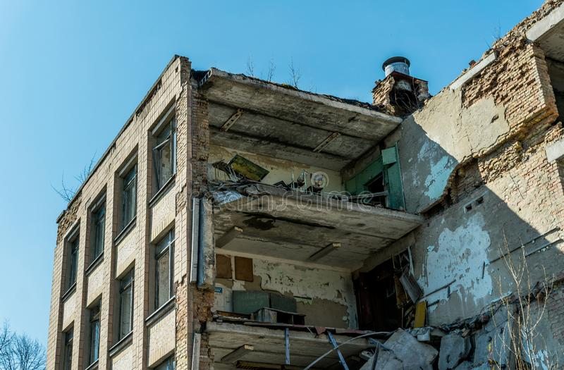 Old abandoned hospital in the city of Pripyat, Ukraine. Consequences of a nuclear explosion at the Chernobyl nuclear power plant. Chernobyl Exclusion Zone royalty free stock photos