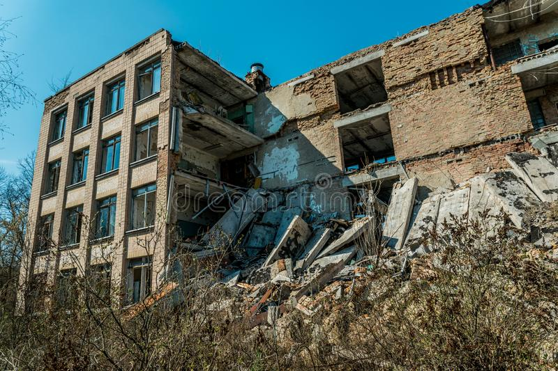 Old abandoned hospital in the city of Pripyat, Ukraine. Consequences of a nuclear explosion at the Chernobyl nuclear power plant. Chernobyl Exclusion Zone stock photography