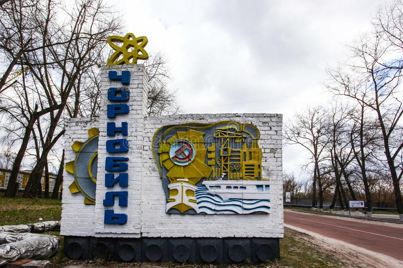 Sign welcoming visitors of Chernobyl city, now touristic attraction in popular Chernobyl tours. Chernobyl Exclusion Zone , Ukraine - APRIL 15, 2019 : sign royalty free stock images