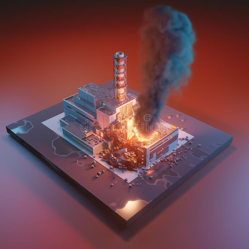 Chernobyl nuclear power plant. Chernobyl disaster catastrophe, nuclear accident. 3d isometric illustration isolated on white royalty free illustration