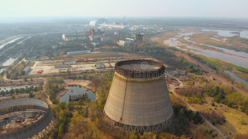 Chernobyl nuclear power plant, Ukrine. Aerial view. Chernobyl nuclear power plant. Cooling tower overlooking the nuclear power plant in Chernobyl. View of the stock photography