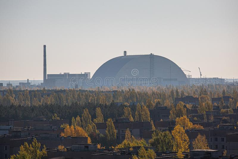 Chernobyl Nuclear Reactor and New Sarcophagus. stock photography