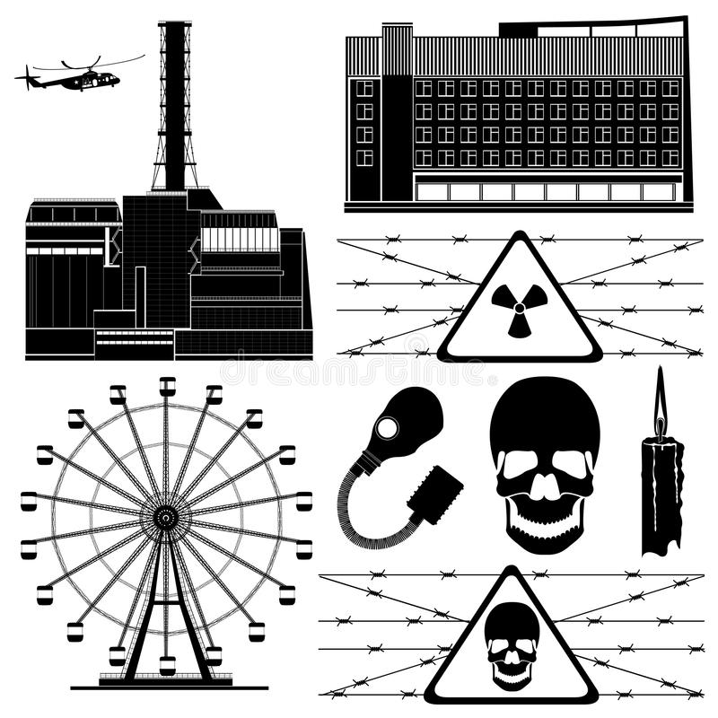 Chernobyl symbol building element zone silhouette. There are some chernobyl symbol building element zone silhouette stock illustration