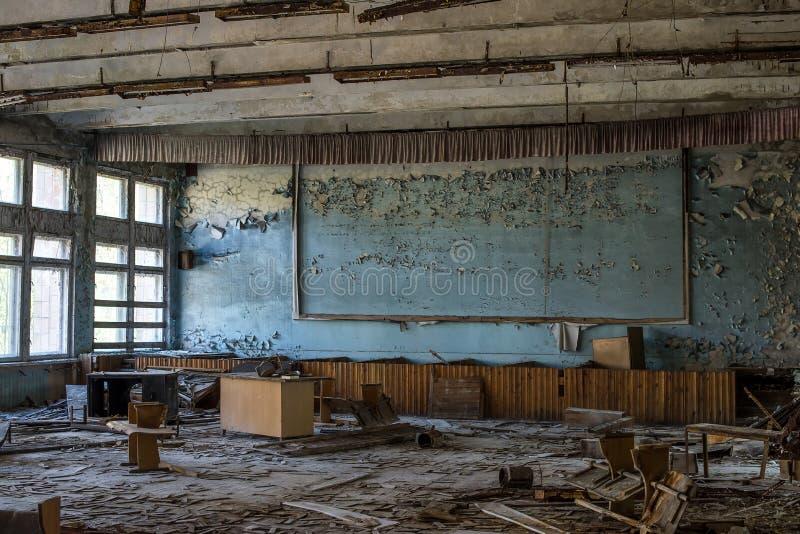 Chernobyl, Ucrania La ciudad abandonada interior de Pripyat se fue despu?s del desastre nuclear de Chern?bil imagen de archivo