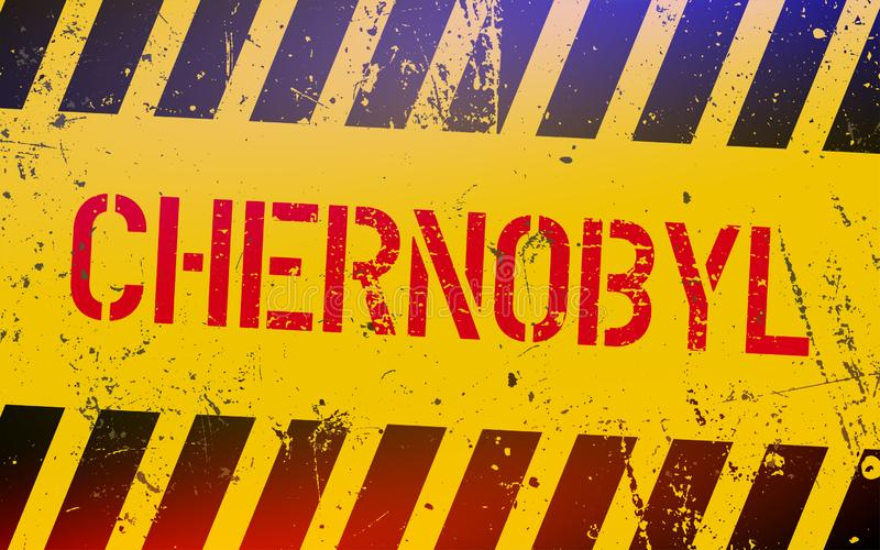 Chernobyl znak ostrzegawczy Promieniotwórczy miejsca w Ukraina J?drowej w?adzy poj?cie Jądrowe katastrofy w sowieci - zjednoczeni obraz stock