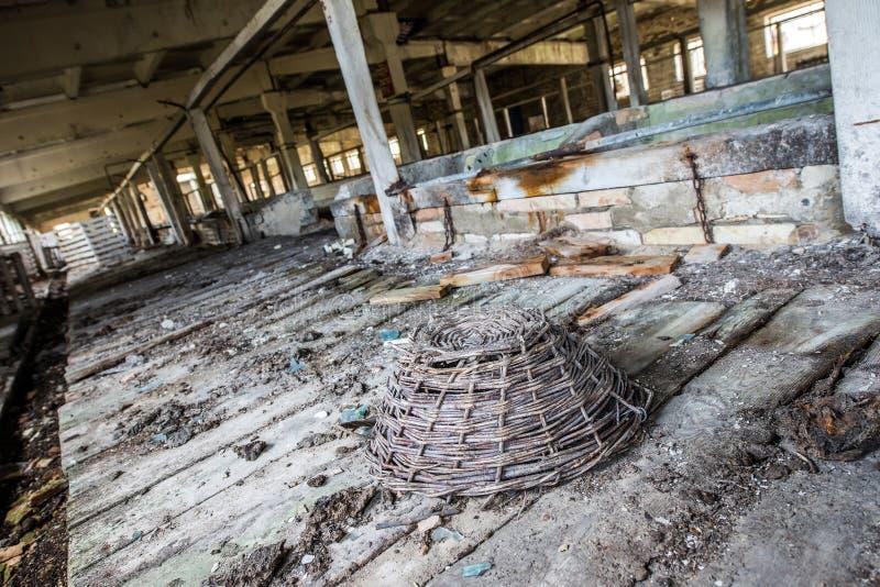 Chernobyl zone. Old byre in Korohod kolkhoz village, Chernobyl Nuclear Power Plant Zone of Alienation, Ukraine stock photos