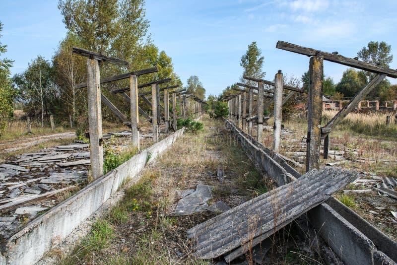 Chernobyl zone. Old byre in Korohod kolkhoz village, Chernobyl Nuclear Power Plant Zone of Alienation, Ukraine royalty free stock image