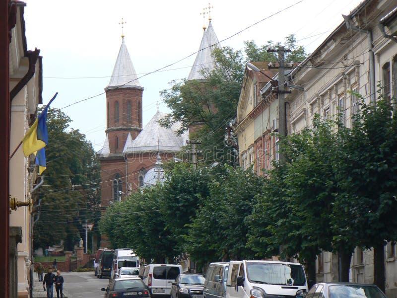 Chernovtsy, la iglesia armenia/Pasillo del órgano y de la música de cámara filarmónicos imagen de archivo