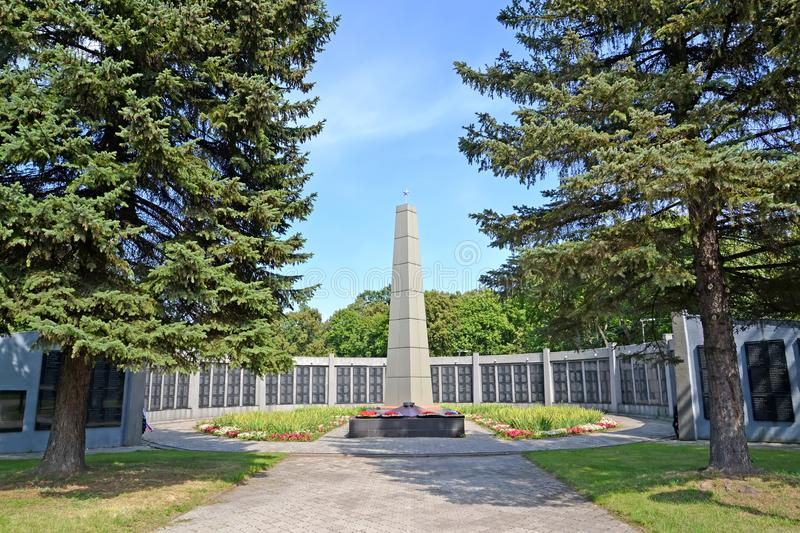CHERNYAKHOVSK, RUSSIA. A view of a memorial complex on a mass grave of the Soviet soldiers. Kaliningrad region royalty free stock photos