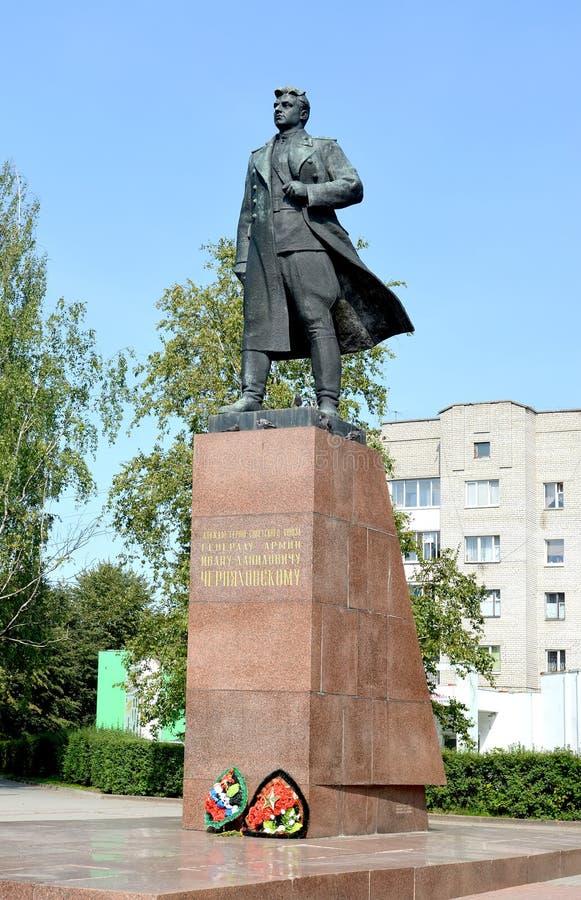 CHERNYAKHOVSK, RUSSIA. A monument to the general I.D. Chernyakhovsky in summer day. Kaliningrad region stock photo