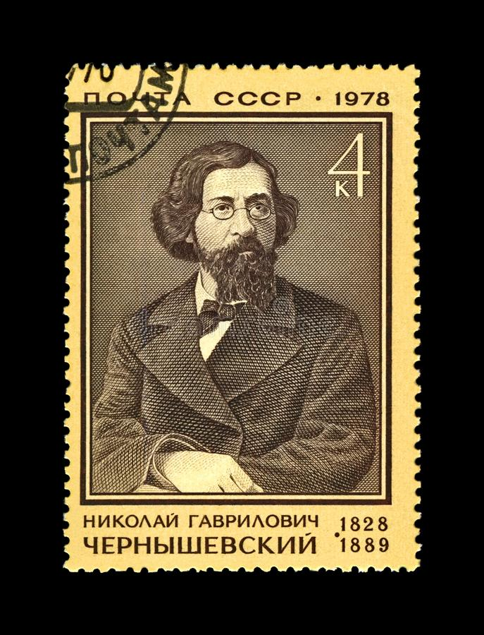 Chernyshevsky Nikolai, russian writer, revolutionary, 150th birth anniversary, circa 1978,. USSR - CIRCA 1978: canceled stamp printed in the USSR shows famous stock images