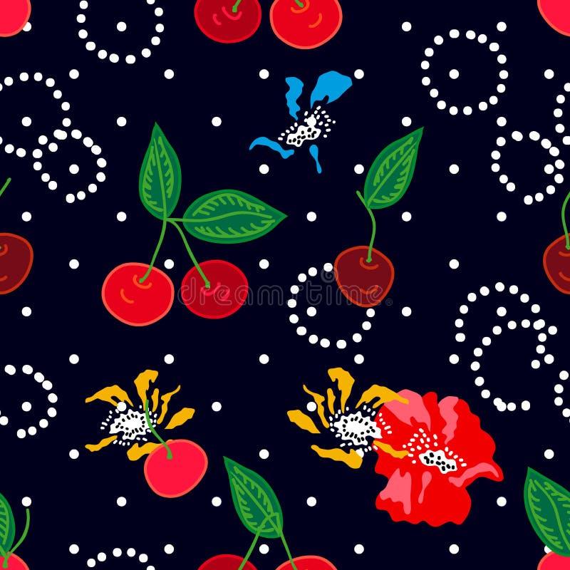 Cherrie auf schwarzem Hintergrund lizenzfreie abbildung