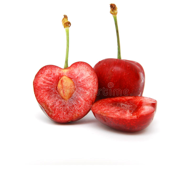 Cherries. The red cherries fruit on white royalty free stock images