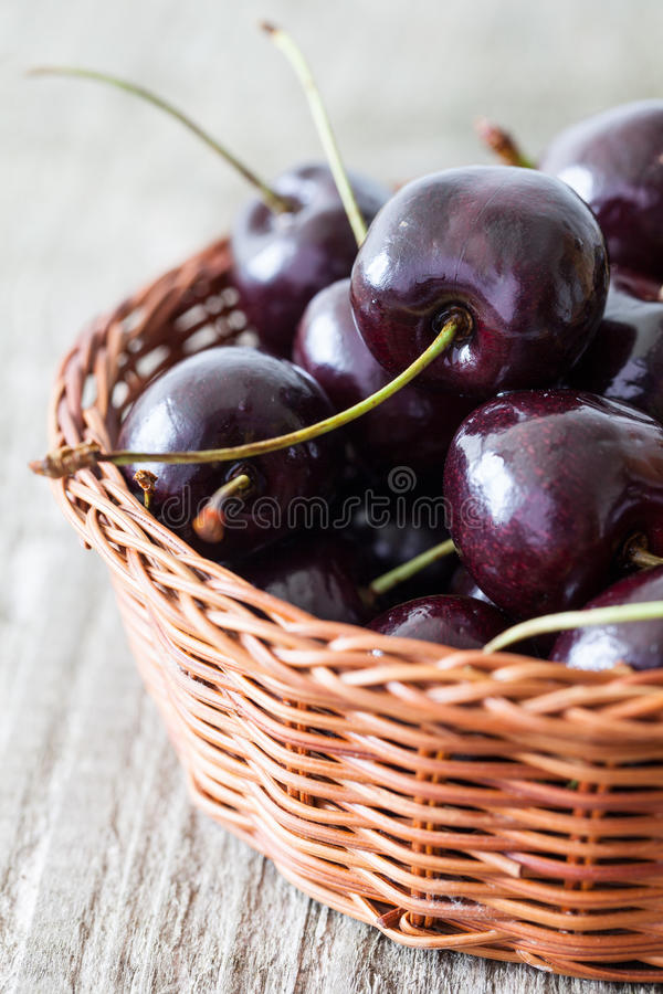 Download Cherries In A Basket Royalty Free Stock Images - Image: 26140559