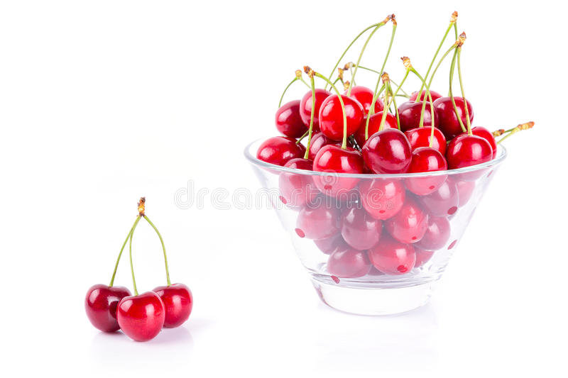 Cherries In The Bowl Over White Stock Photography