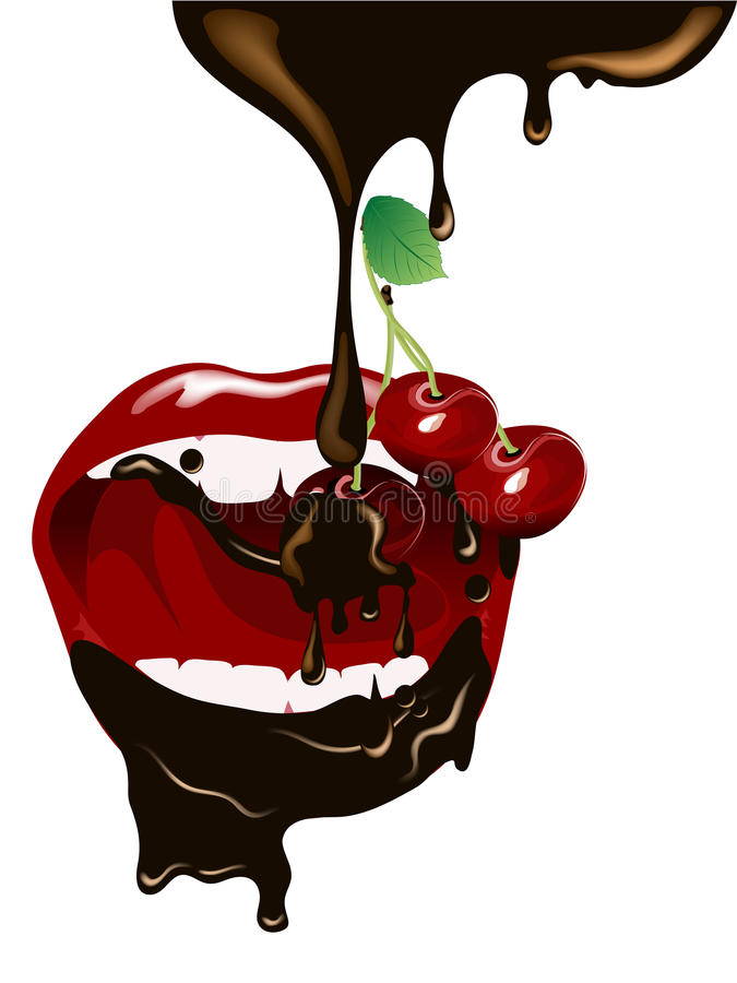 Download Cherries in chocolate stock vector. Image of illustration - 31936687