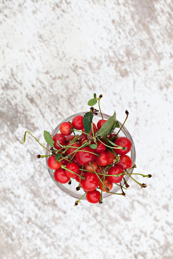 Cherries In Glass Bowl Stock Photography