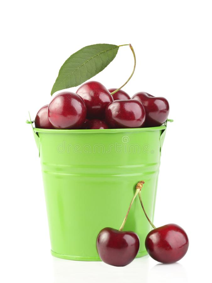 Cherries in green pail isolated on white. Background stock photos