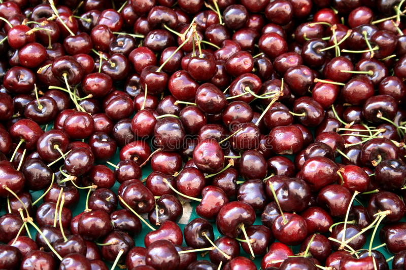 Cherries at the market royalty free stock photography