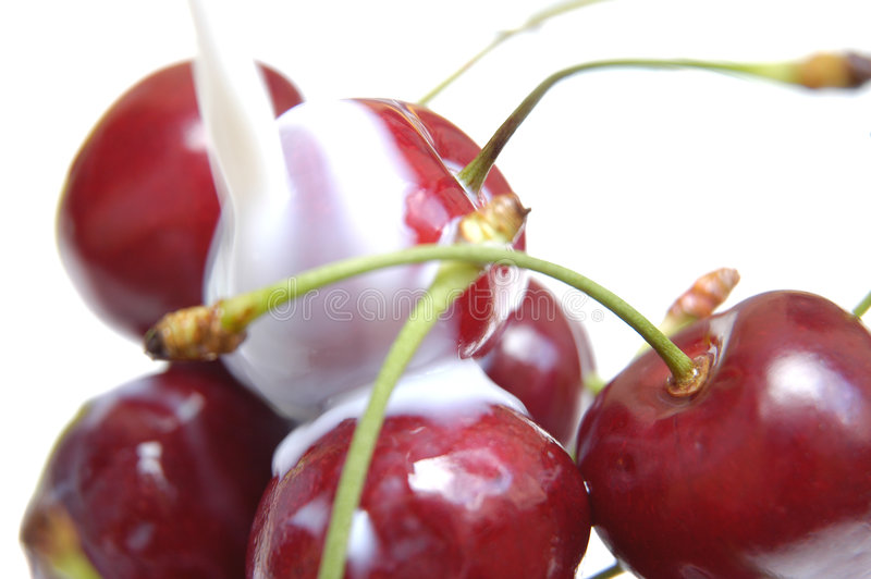 Cherries with milk V royalty free stock photos