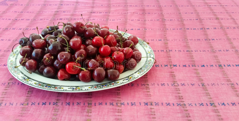 Cherries Served in a Plate. Fresh Cherries Served in a Plate royalty free stock image