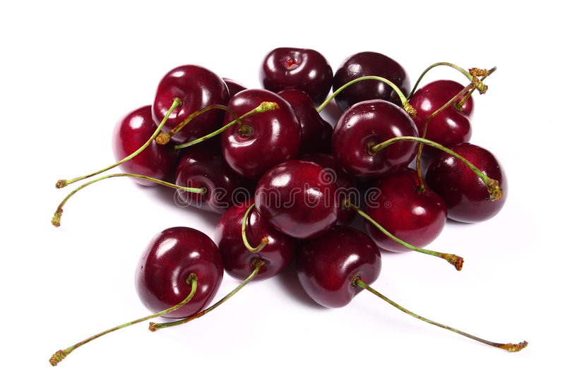 Cherries on white background. Cherries isolated on white background stock photography
