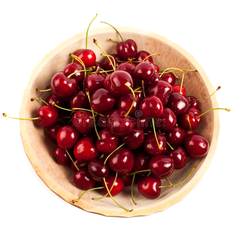 Download Cherries In A Wooden Bowl Stock Photo - Image: 25550250