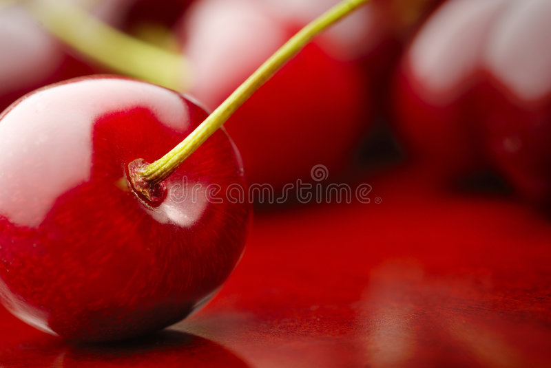 Cherry. Detail of the red cherrys royalty free stock photos