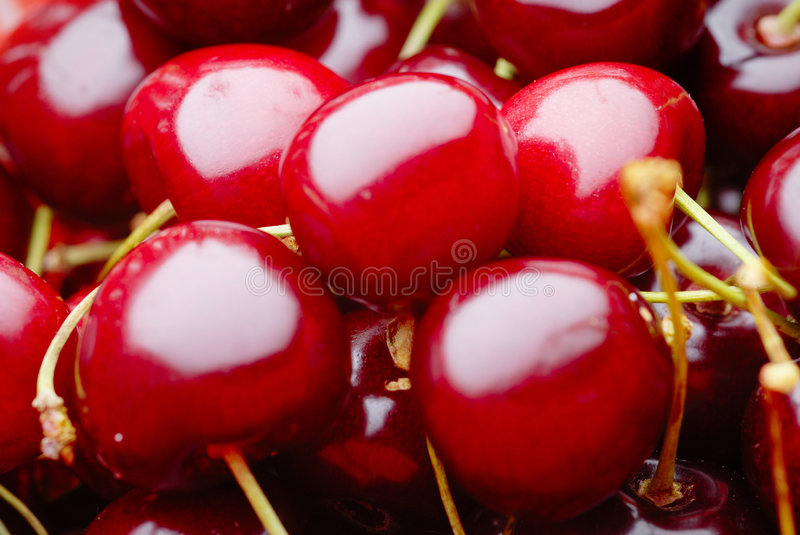 Cherry. Detail of the red cherrys stock photos