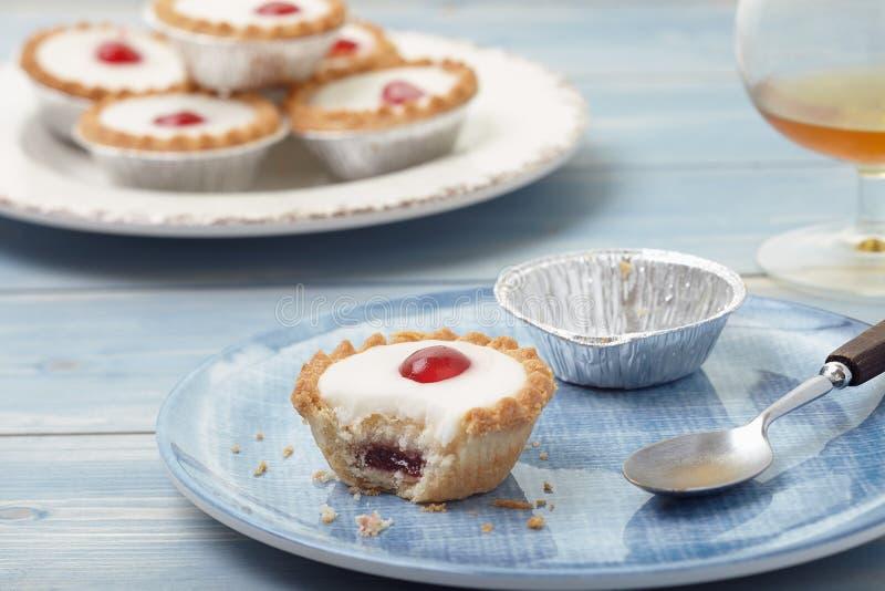 Cherry bakewell tart royalty free stock photography