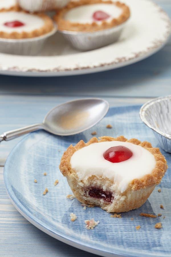 Cherry bakewell tart stock photos