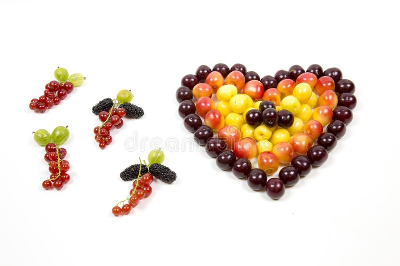 Cherry berries cherries in the form of a heart of red pink yellow and tassels of red currant gooseberry mulberry isolated on a whi royalty free stock photography