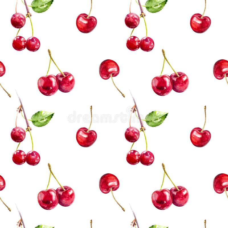 Cherry berries hand draw seamless watercolor fabric pattern. royalty free illustration