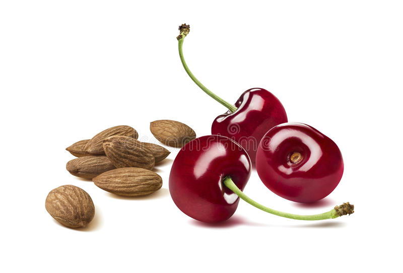 Cherry berry almond nut group together on white backgro royalty free stock images