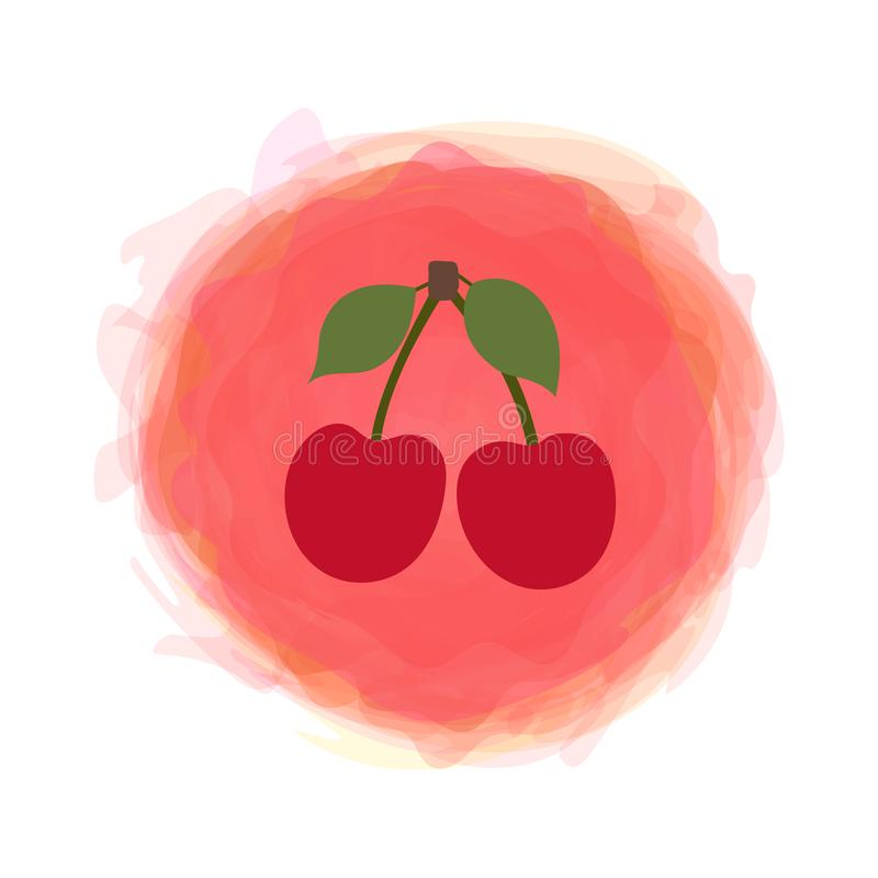 Cherry berry. Sketch fruit with leaf isolated on watercolor round background. Hand drawn doodle vector. Organic food label. vector illustration
