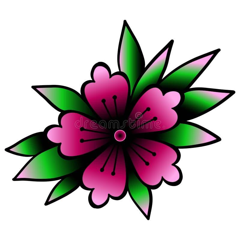Cherry Blossom Élément traditionnel de tatouage d'Oldschool clipart de vecteur Bon pour imprimer des autocollants et des tatouage illustration libre de droits
