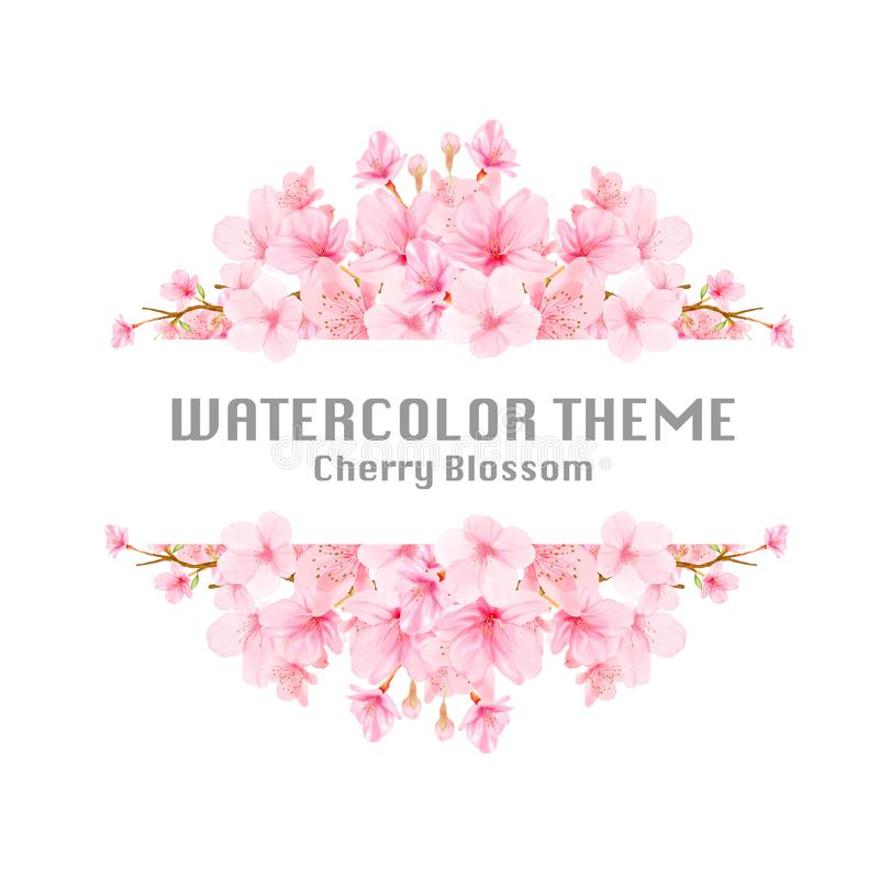 Cherry blossom background frame with hand drawn flowers vector illustration