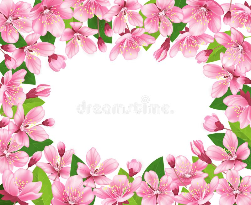 Cherry blossom background. Pink spring flowers frame. Cartoon style vector illustration stock illustration