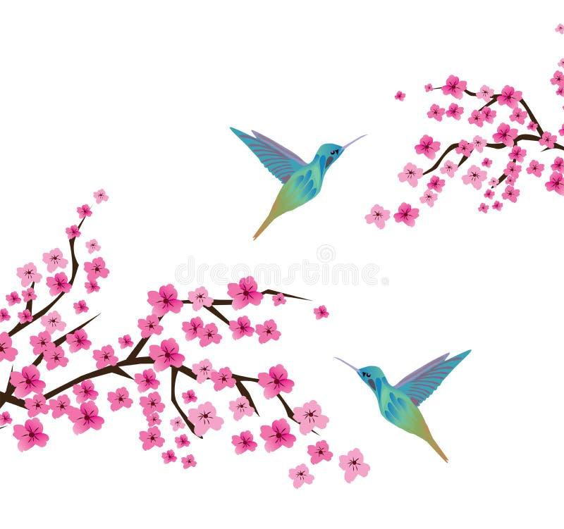 Cherry Blossom Branches With Birds illustrazione vettoriale