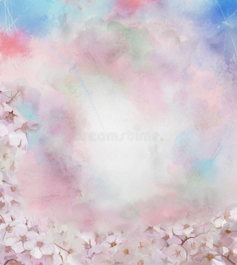 Cherry blossom flower oil painting stock illustration