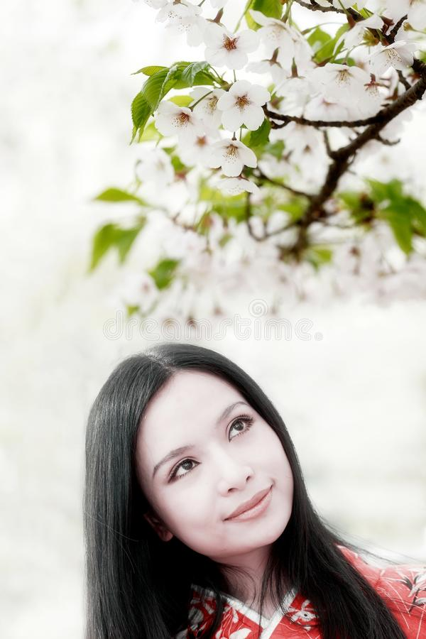 Cherry blossom girl royalty free stock image