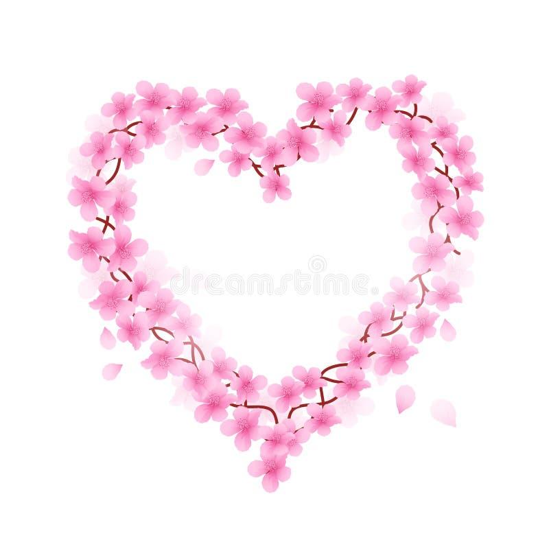 Cherry Blossom Heart. Branch Vector illustration stock illustration