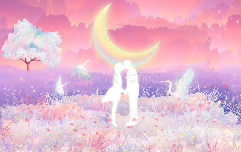 Cherry blossom lovers kiss in the moonlightin the moonlight, which is a beautiful scene vector illustration