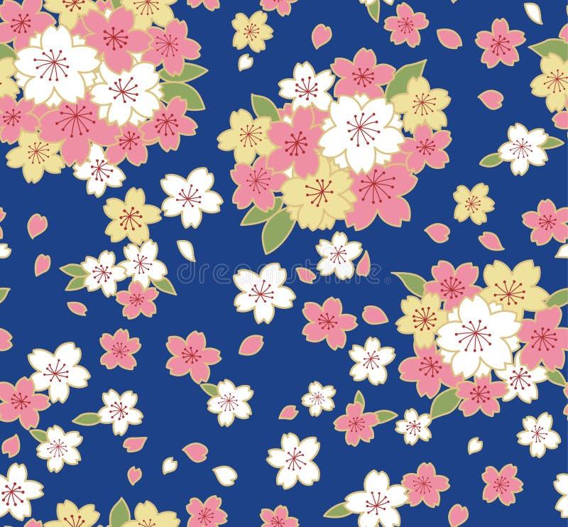 Cherry Blossom Pattern lindo japonês ilustração do vetor